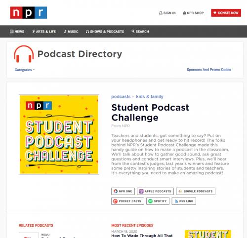 NPR Student Podcast Challenge