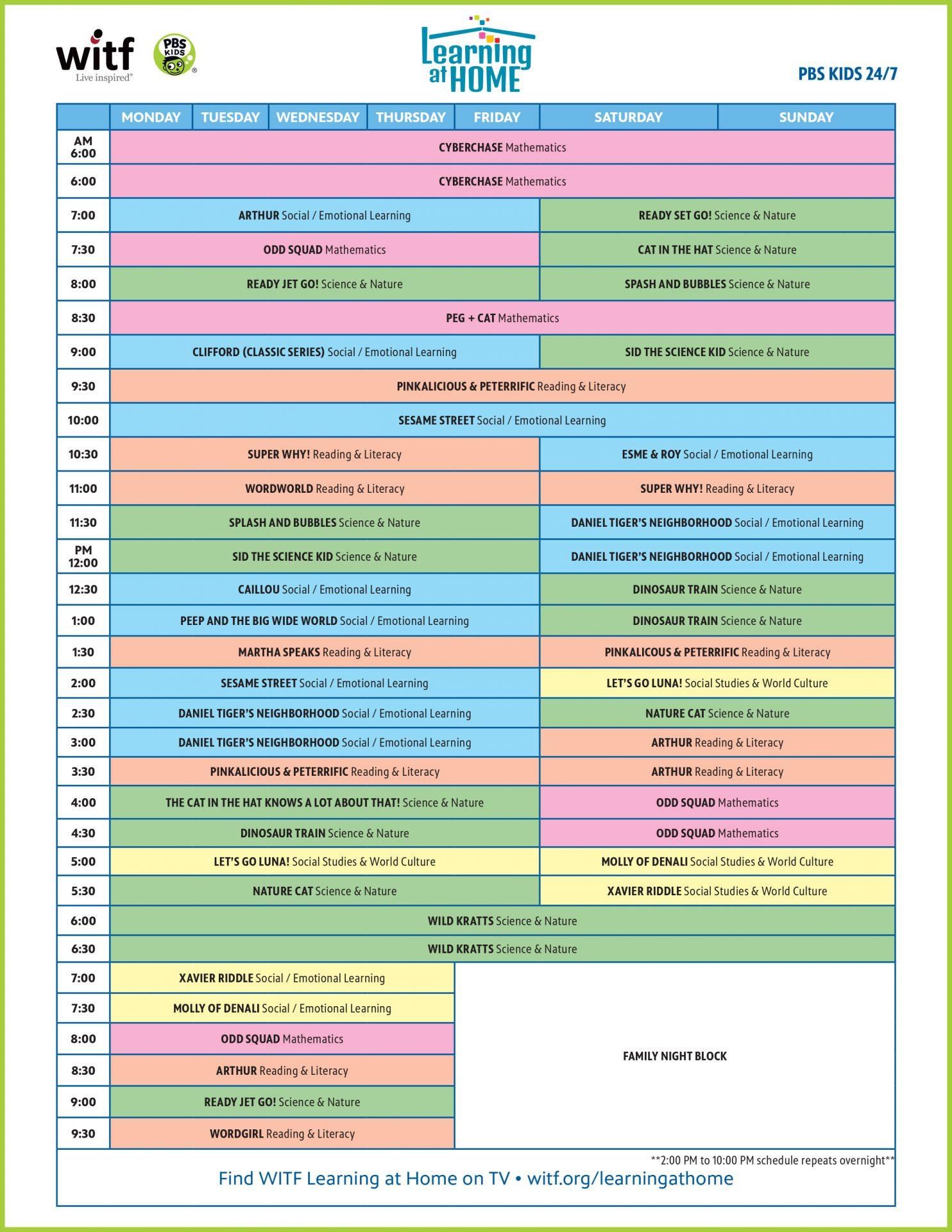 PBS Kids 24/7 Channel Schedule