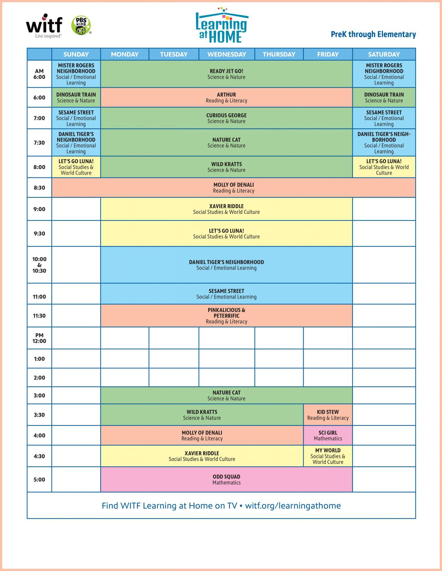 WITF Kids Daytime Schedule