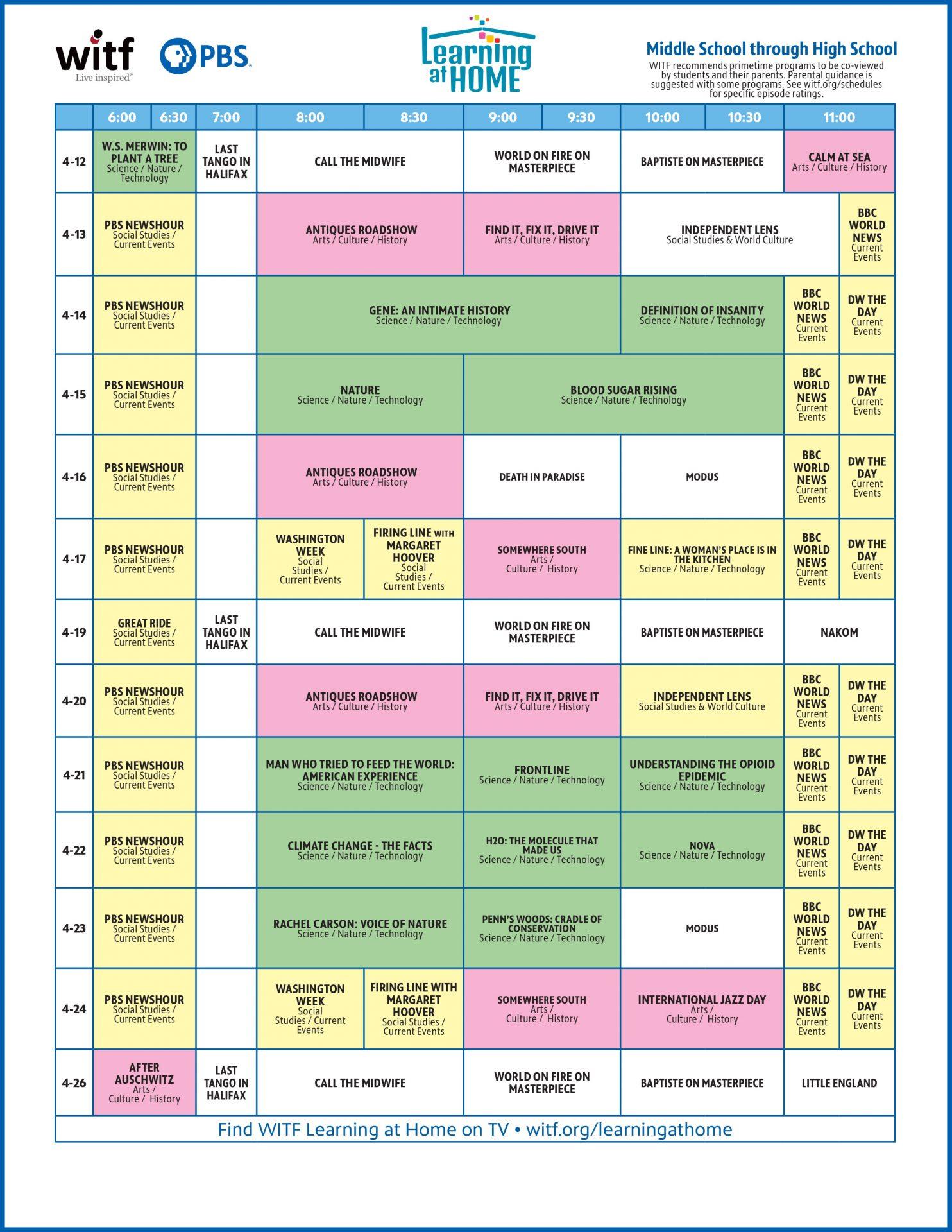 WITF Kids Primetime Schedule