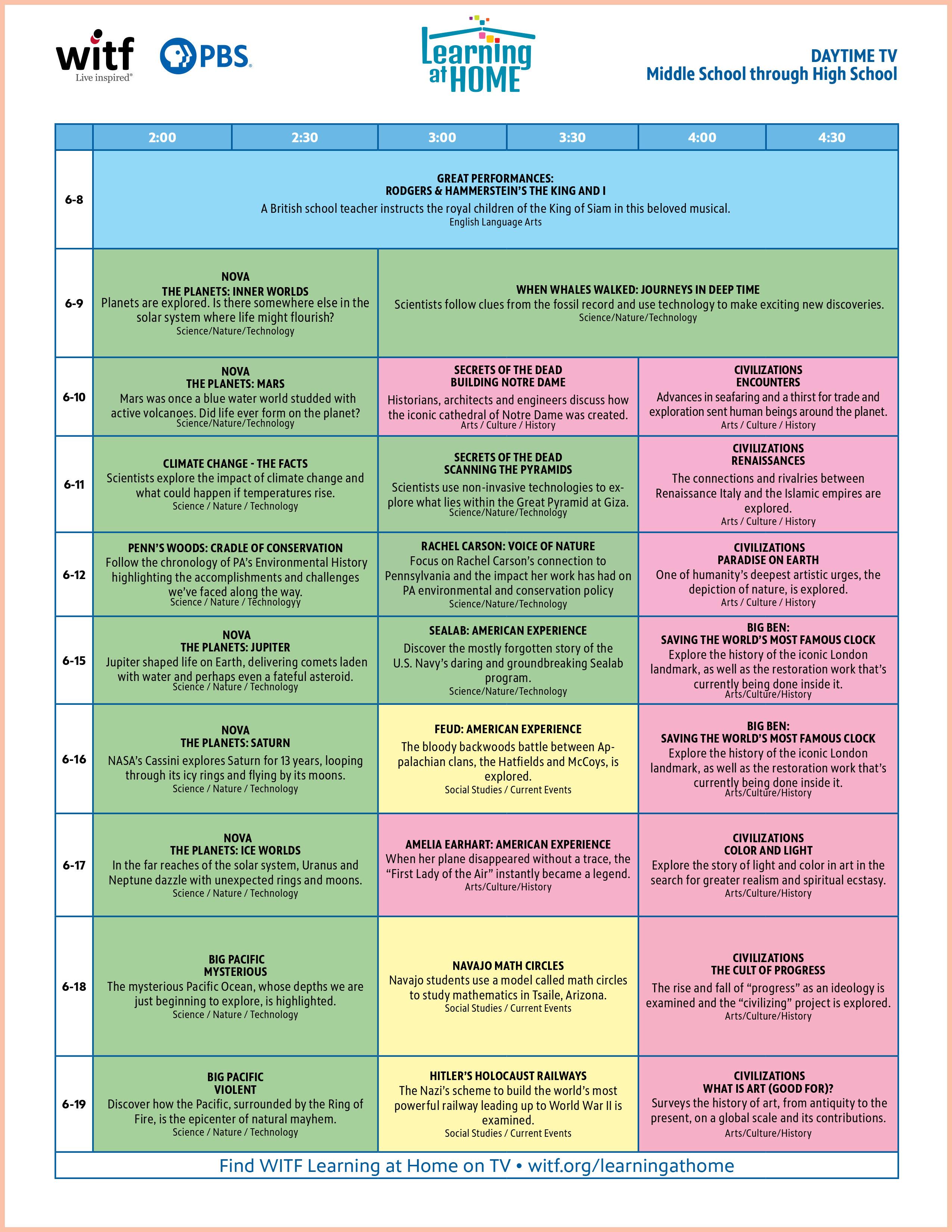 Daytime Middle School through High School Schedule