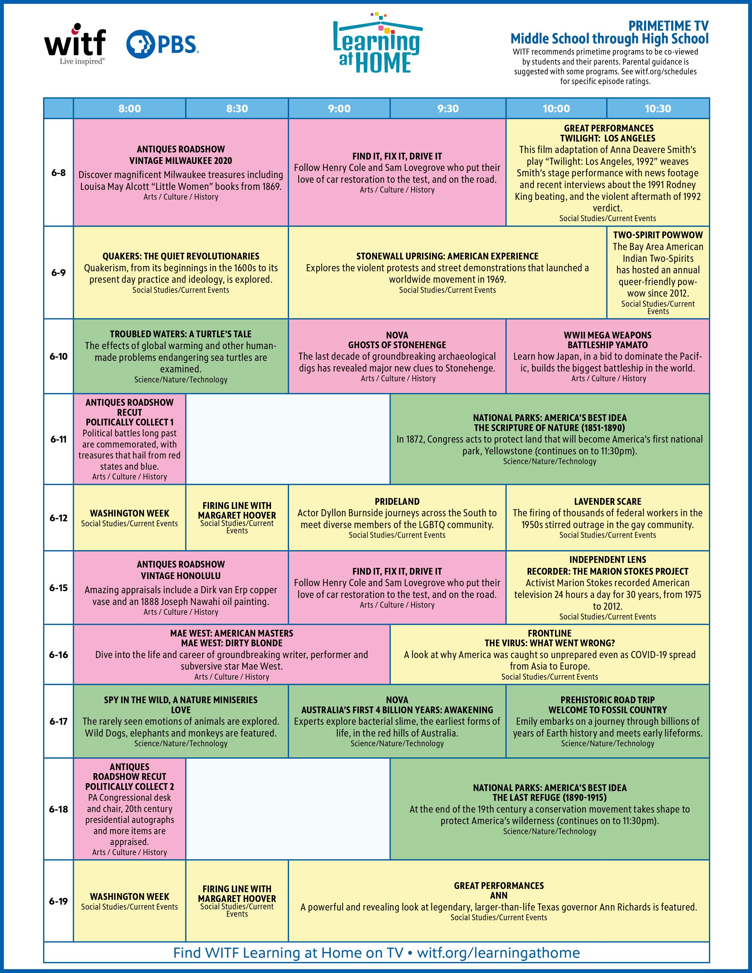 Primetime Middle School through High School Schedule