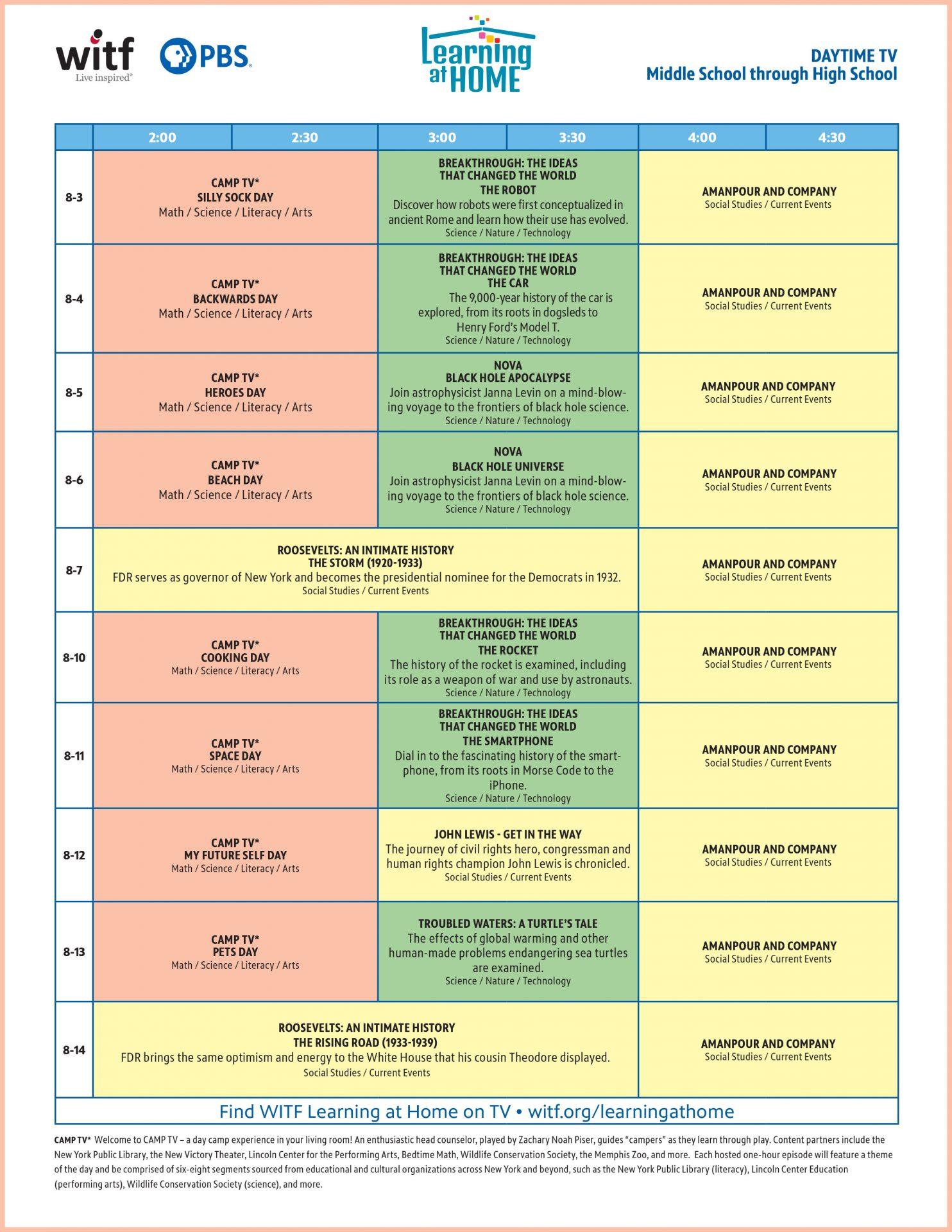 Middle School through High School Daytime Schedule