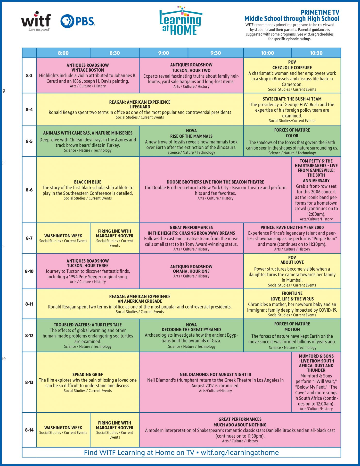 Middle School through High School Primetime Schedule