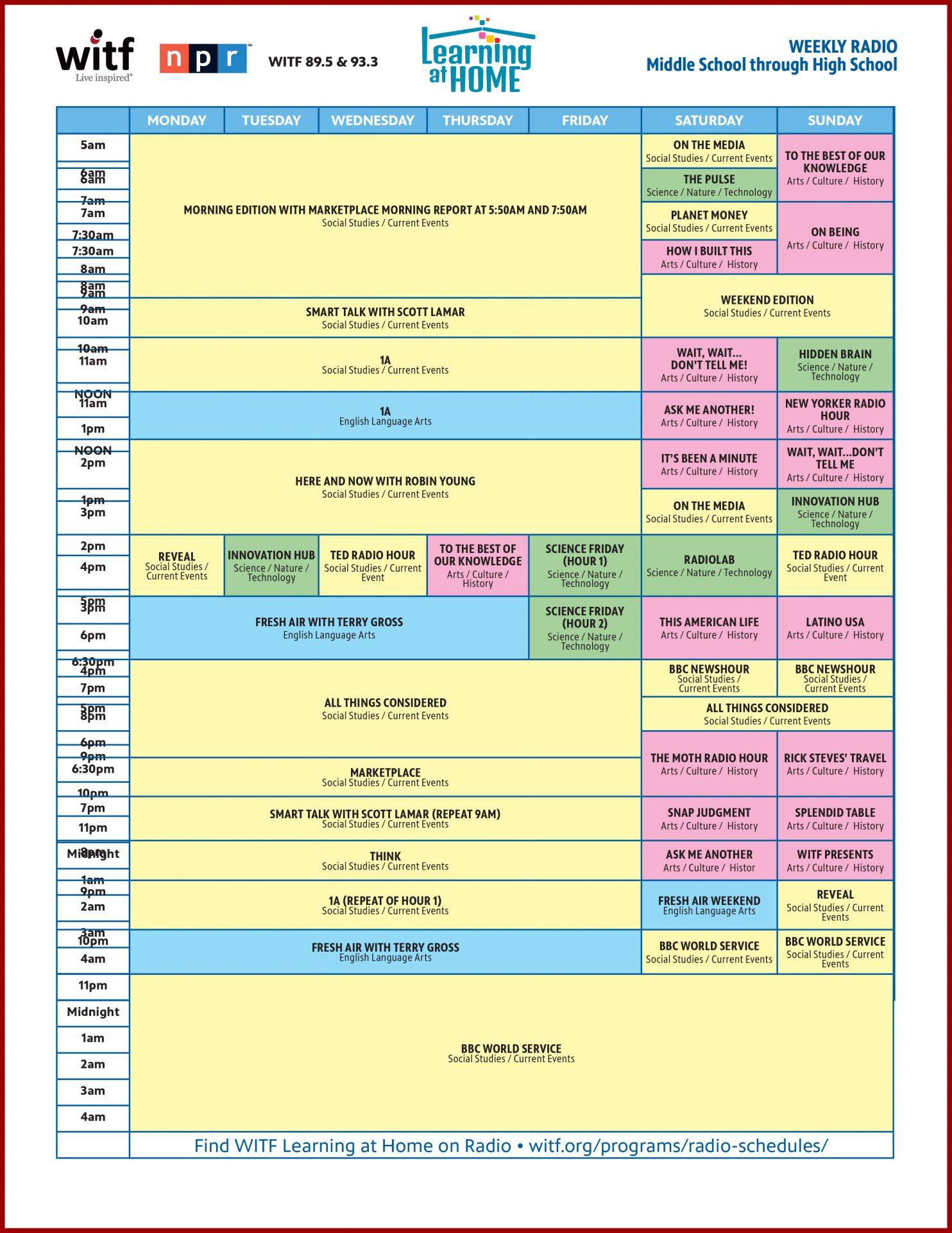 WITF Kids Radio Schedule