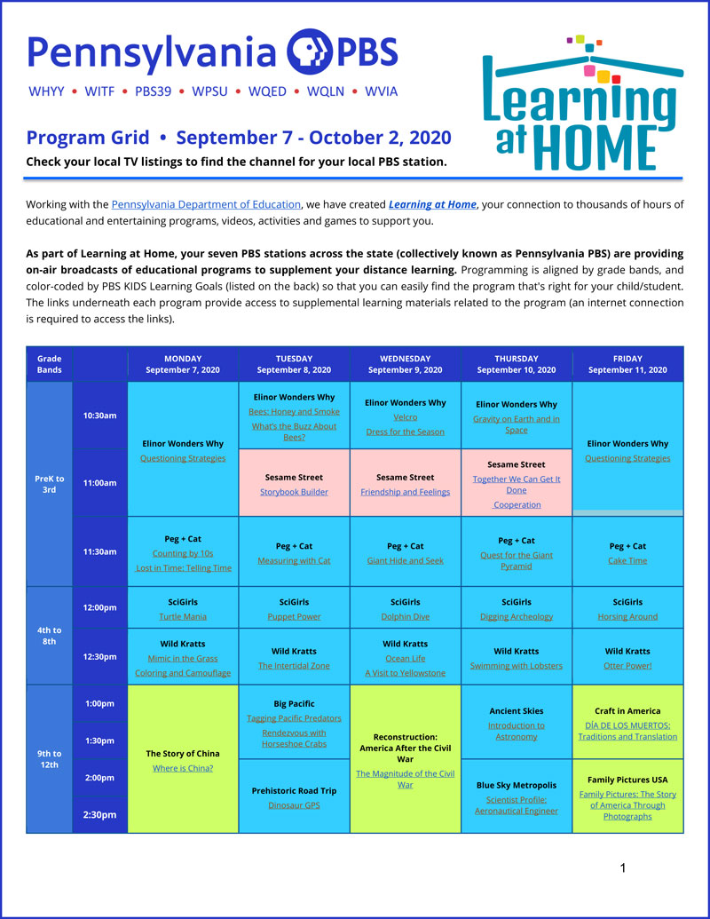 Pennsylvania Learning at Home Grid