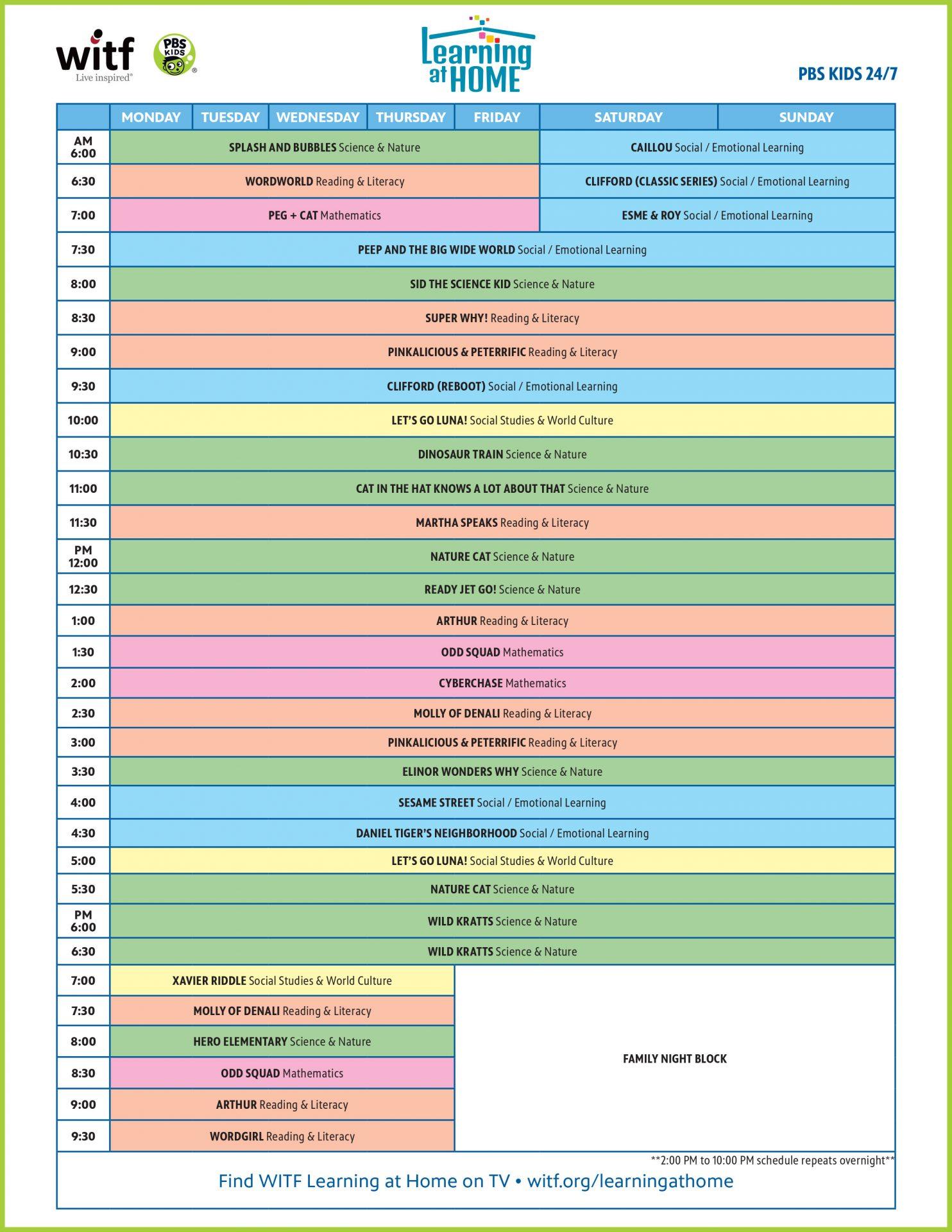 WITF PBS Kids 24/7 Schedule