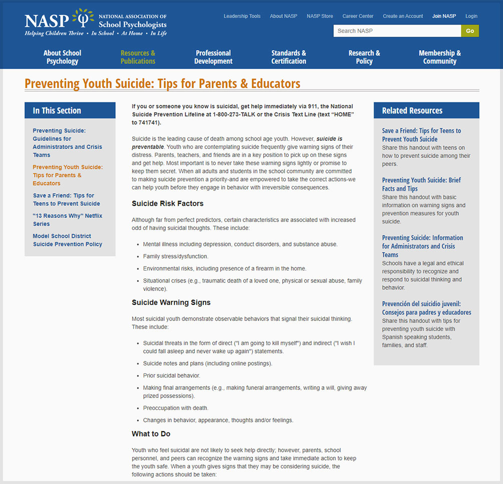 Preventing Youth Suicide Tips for Parents and Educators