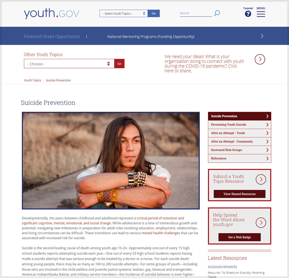Suicide Prevention | Youth.gov