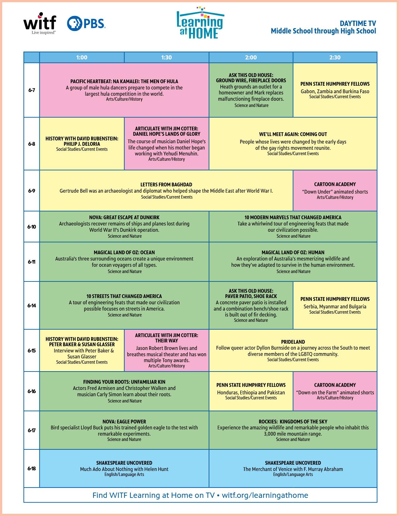 WITF Daytime Schedule | Middle School through High School