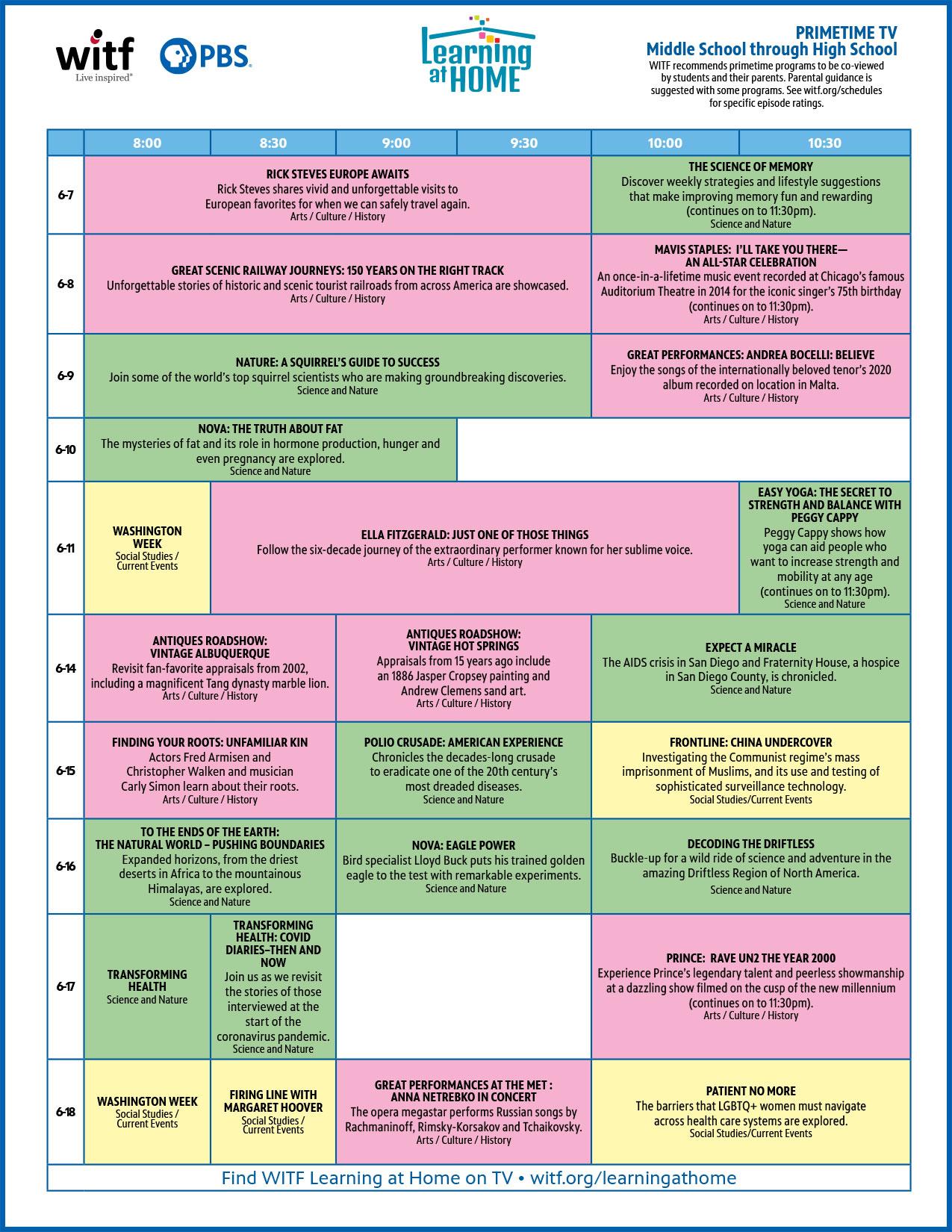 WITF Primetime Schedule | Middle School through High School