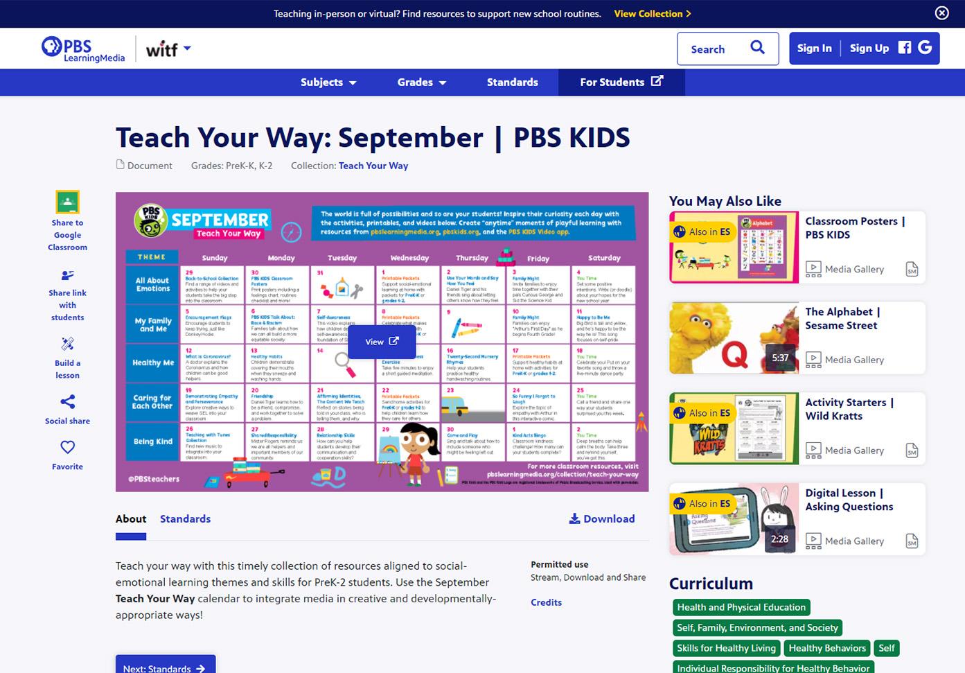 Teach Your Way: September | PBS KIDS