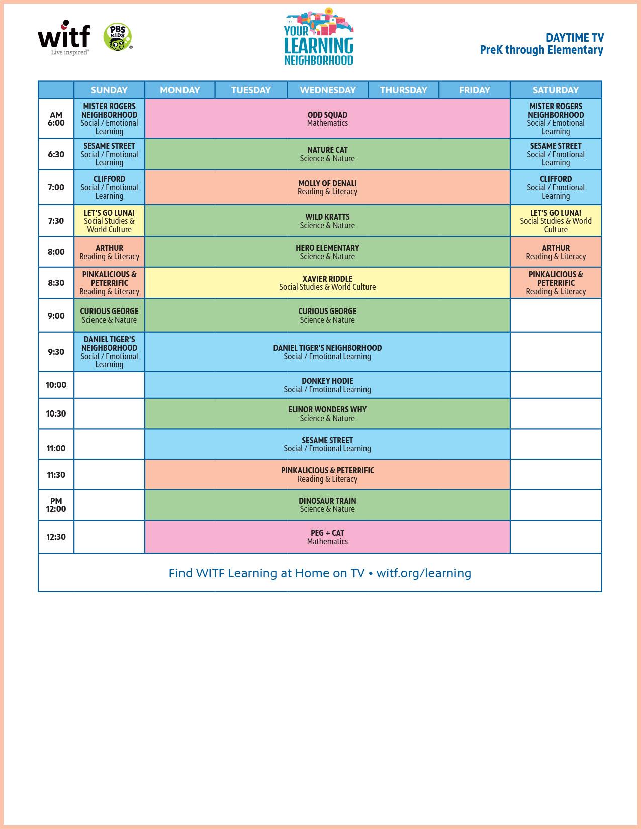 Daytime TV - PreK through Elementary Schedule